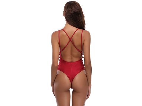 Red Plunge V-Neck Crisscross Detail Monokini