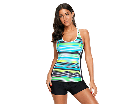 Lemon Blue Muti Striped Racerback Tankini Top