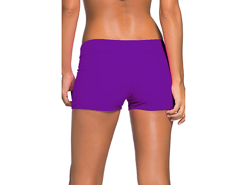 Purple Wide Waistband Swimsuit Bottom Shorts sale online