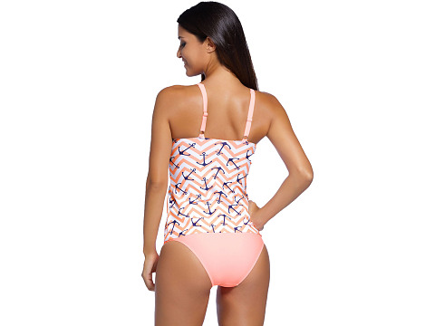 Chic Anchor Print Pink 2pcs Tankini Swimsuit