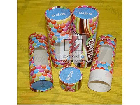 Cylinder Rolled Edge Paper Tube Box with Clear Window Lid